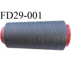Destockage  cone 2000 m fil  polyester  fil n°165 couleur gris longueur du cone 2000 mètres bobiné en France