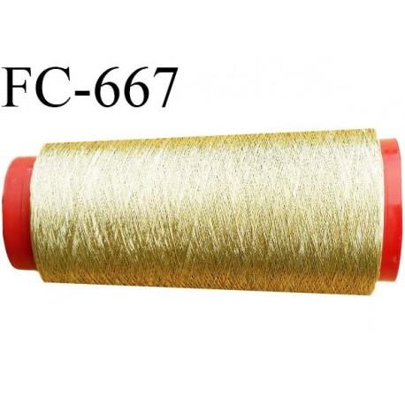 Cone 1000 m de fil couleur  or doré  composition 58 % polyester continu et polyester métalisé 42 % bobiné en france