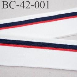 Bord-Côte 42 mm bord cote jersey maille  synthétique couleur bleu  naturel et rouge largeur 42 mm longueur du bord cote 122 cm