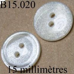 bouton 15 mm gris nacre pailleté  brillant  2 trous diamètre 15 millimètres