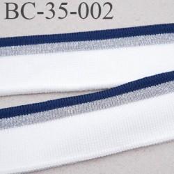 Bord-Côte 35 mm bord cote jersey maille  synthétique couleur bleu marine  naturel argent pailleté largeur 35 mm longueur 122 cm