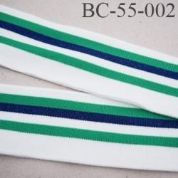 Bord-Côte 55 mm bord cote jersey maille  synthétique couleur naturel  vert et bleu marine pailleté largeur 55 mm longueur 130 cm