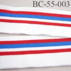 Bord-Côte 55 mm bord cote jersey maille  synthétique couleur naturel  bleu et rouge largeur 55 mm longueur 125 cm