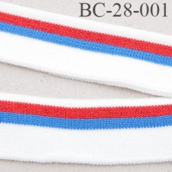Bord-Côte 28 mm bord cote jersey maille  synthétique couleur naturel  bleu rouge pailleté largeur 28 mm longueur 125 cm