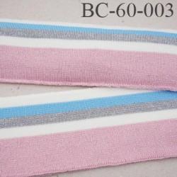 Bord-Côte 60 mm bord cote jersey maille  synthétique couleur  naturel  bleu rose et gris pailleté largeur 60 mm longueur 125 cm