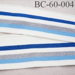 Bord-Côte 60 mm bord cote jersey maille synthétique couleur naturel bleu gris bleu marine pailleté largeur 60 mm longueur 123 cm