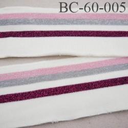 Bord-Côte 60 mm bord cote jersey maille synthétique couleur naturel bordeaux gris et rose pailleté largeur 60 mm longueur 133 cm