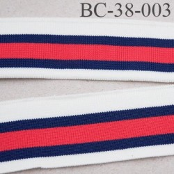 Bord-Côte 38 mm bord cote jersey maille  synthétique couleur rouge naturel et bleu marine largeur 38 mm longueur 122 cm