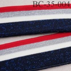 Bord-Côte 35 mm bord cote jersey maille synthétique couleur naturel rouge argent  bleu  pailleté largeur 35 mm longueur 122
