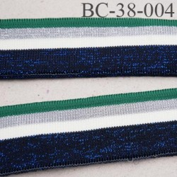 Bord-Côte 38 mm bord cote jersey maille  synthétique couleur naturel vert et bleu  argent pailleté largeur 38 mm longueur 122