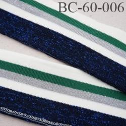 Bord-Côte 60 mm bord cote jersey maille synthétique couleur naturel vert et gris bleu pailleté largeur 60 mm longueur 122 cm