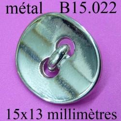 bouton 15 mm en métal chromé  brillant  2 trous diamètre 15 millimètres