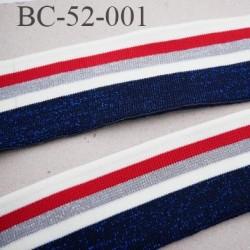 Bord-Côte 52 mm bord cote jersey maille  synthétique couleur naturel rouge et argent bleu pailleté largeur 52 mm longueur 120