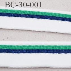 Bord-Côte 30 mm bord cote jersey maille  synthétique couleur naturel vert et bleu marine largeur 30 mm longueur 130 cm