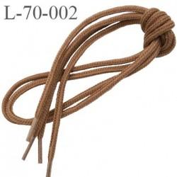 Lacet rond 70 cm couleur marron clair noisette diamètre 4 mm longueur 70 cm embout plastique transparent prix pour une paire