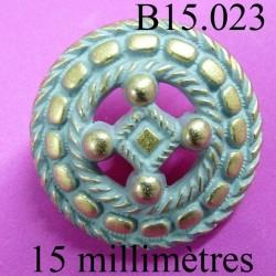 bouton 15 mm couleur doré et gris en incrustation mat  accroche avec un anneau diamètre 15 millimètres