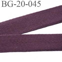 Biais sergé 20 mm 100 % coton couleur prune ou lie de vin largeur 20 mm  souple et très doux prix au mètre