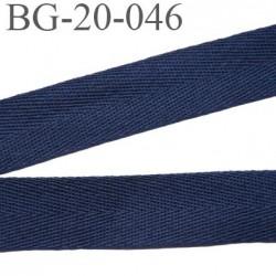 Biais sergé 20 mm 100 % coton couleur bleu marine largeur 20 mm  souple et très doux prix au mètre