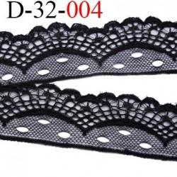 Dentelle 32 mm couleur noir synthétique largeur 32 mm prix au mètre