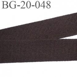 galon 20 mm gros grain  synthétique couleur marron foncé largeur 20 mm prix au mètre