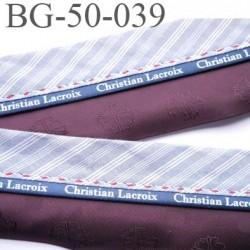 galon ruban 50 mm ganse réhausse couleur lie de vin gris et blanc inscription Christian Lacroix haut de gamme prix au mètre