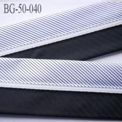 galon ruban 50 mm ganse rehausse couleur noir écru et gris argenté satin  haut de gamme prix au mètre