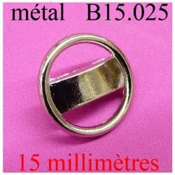 bouton 15 mm en métal  chromé  brillant  accroche avec un anneau diamètre 15 millimètres