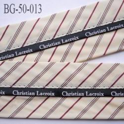 sangle biais ruban CHRISTIAN LACROIX couleur beige doré  et noir largeur 5 cm souple vraiment hyper solide incassable