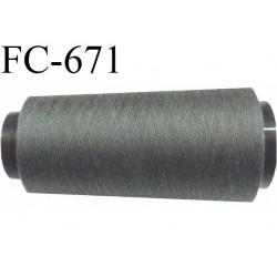 Cone de fil  2000 mètres mousse polyester fil n° 110 couleur gris anthracite longueur 2000 mètres bobiné en  France