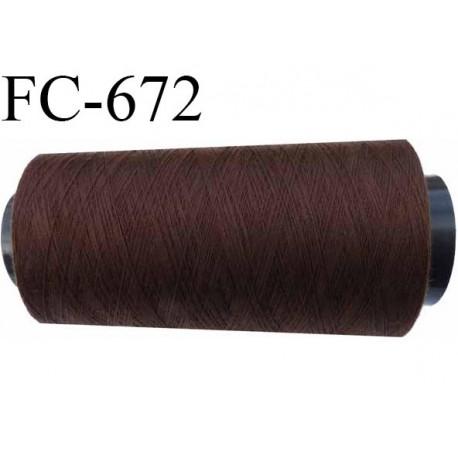 Cone de fil  2000 mètres mousse polyester fil n° 110 couleur marron longueur 2000 mètres bobiné en  France