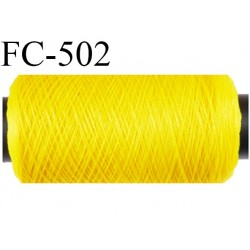 Bobine de fil mousse polyamide fil n° 180 couleur jaune  longueur 500 mètres bobiné en France