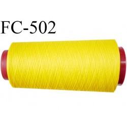 Cone de fil mousse polyamide fil n° 180 couleur jaune  longueur du cone 2000 mètres bobiné en France