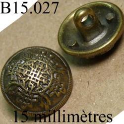 bouton 15 mm  ancien provenant d'une vieille mercerie en métal  accroche avec un anneau  diamètre 15 millimètres