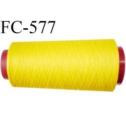 cone de fil polyester fil n°120 couleur jaune lumineux longueur du cone 2000 mètres bobiné en France