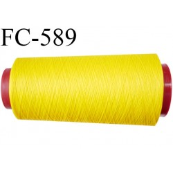 Cone de fil mousse  polyester fil n°160 couleur jaune  longueur 2000 mètres bobiné en France