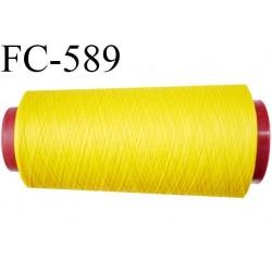 Cone de fil mousse  polyester fil n°160 couleur jaune  longueur 5000 mètres bobiné en France