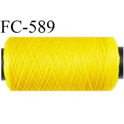 Bobine 500 m de fil mousse  polyester fil n°160 couleur jaune  longueur 500 mètres bobiné en France