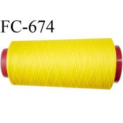 Cone 2000 m de fil mousse  polyester fil n°110 couleur jaune  longueur 2000 mètres bobiné en France