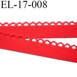Elastique picot largeur 17 mm largeur de bande 13 mm + boucle 4 mm couleur rouge 80% polyamide 20% elastane prix au mètre
