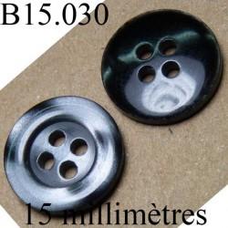 bouton 15 mm   couleur gris marbré brillant d'une face et noir brillant pour la 2 face 4 trous diamètre 15 millimètres