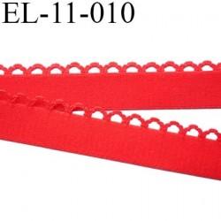 Elastique picot largeur 11 mm largeur de bande 11 mm + picot 4 mm couleur rouge 80% polyamide 20% elastane prix au mètre