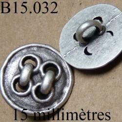 bouton 15 mm en métal mat  accroche avec un anneau diamètre 15 millimètres