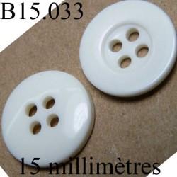 bouton 15 mm couleur blanc brillant 4 trous diamètre 15 millimètres
