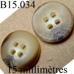 bouton 15 mm couleur marron et corne mat 4 trous diamètre 15 millimètres