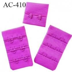 Agrafe attache 32 mm  de soutien gorge 3 rangés 2 crochets largeur 32mm hauteur 55 mm couleur pivoine