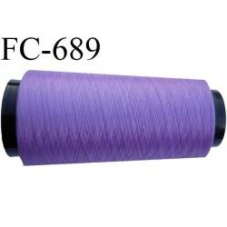 Cone 1000 m de fil mousse  polyester fil n°110 couleur lavande lilas violine  longueur  1000 mètres bobiné en France