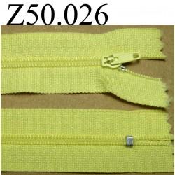 fermeture éclair longueur 50 cm couleur jaune non séparable zip nylon largeur 2.5 cm