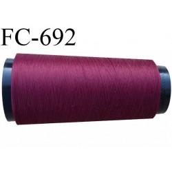 Cone 1000 m fil mousse polyamide n°120 couleur bordeaux prune bobiné en France