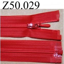 fermeture éclair longueur 50 cm invisible couleur rouge séparable zip nylon largeur 2.6 cm