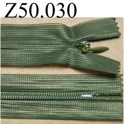 fermeture éclair longueur 50 cm invisible couleur vert kaki non séparable zip nylon largeur 2.4 cm